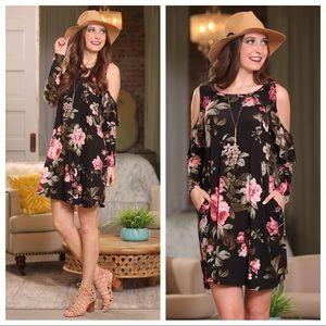 Black floral ruffle cold shoulder dress